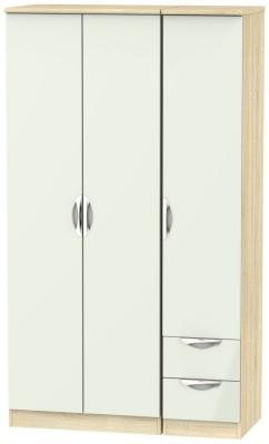 Camden 3 Door 2 Right Drawer Tall Wardrobe - High Gloss Kaschmir and Bardolino