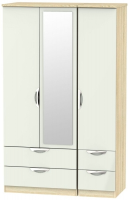 Camden 3 Door 4 Drawer Mirror Wardrobe - High Gloss Kaschmir and Bardolino
