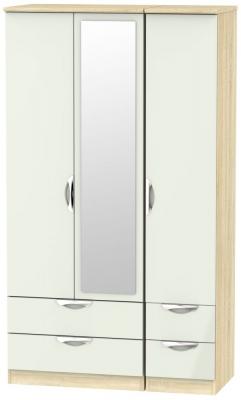 Camden 3 Door 4 Drawer Tall Combi Wardrobe - High Gloss Kaschmir and Bardolino