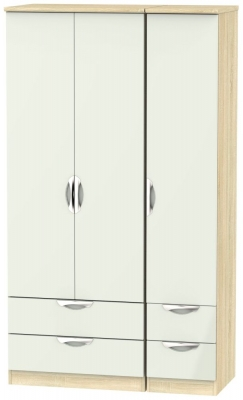 Camden 3 Door 4 Drawer Tall Wardrobe - High Gloss Kaschmir and Bardolino