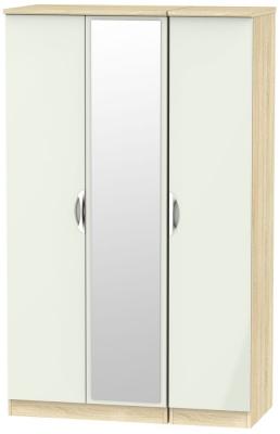 Camden 3 Door Mirror Wardrobe - High Gloss Kaschmir and Bardolino