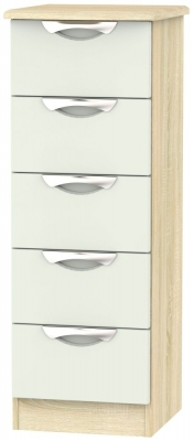 Camden 5 Drawer Tall Chest - High Gloss Kaschmir and Bardolino