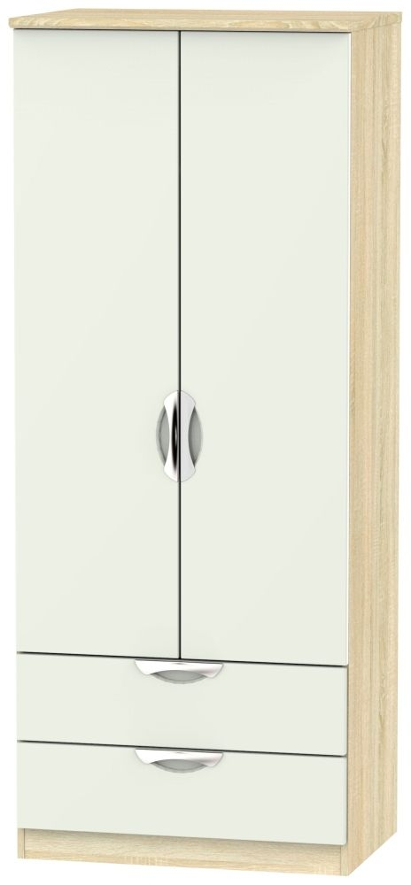 Product photograph showing Camden 2 Door 2 Drawer Wardrobe - High Gloss Kaschmir And Bardolino