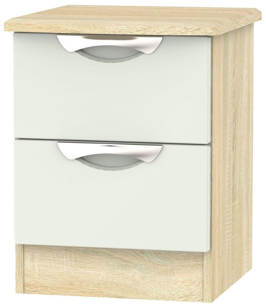 Camden 2 Drawer Bedside Cabinet - High Gloss Kaschmir and Bardolino