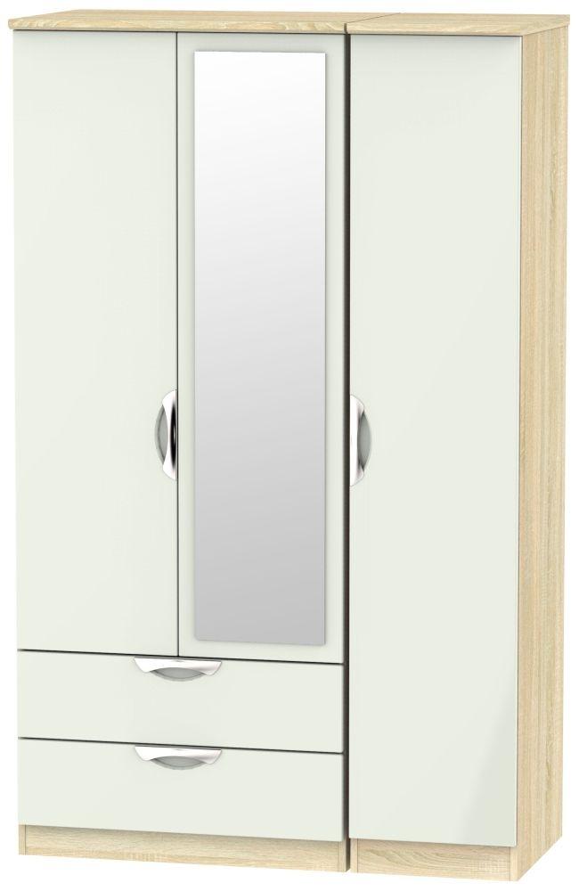 Camden 3 Door 2 Left Drawer Mirror Wardrobe - High Gloss Kaschmir and Bardolino