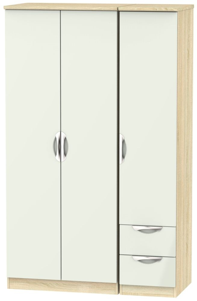 Camden 3 Door 2 Right Drawer Wardrobe - High Gloss Kaschmir and Bardolino
