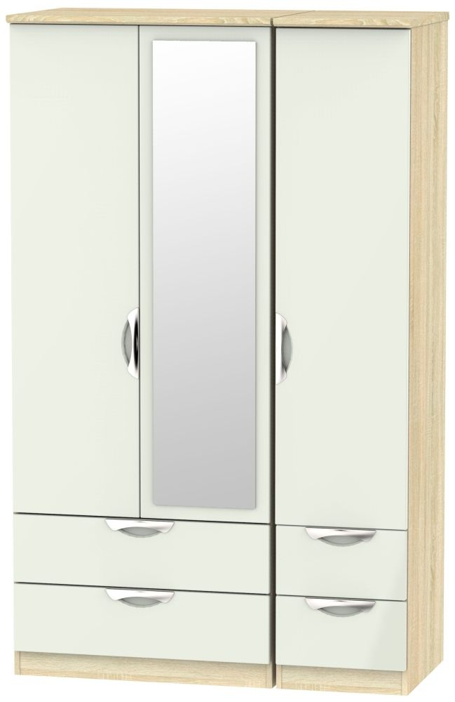 Camden 3 Door 4 Drawer Mirror Wardrobe - High Gloss Kaschmir and Bardolino