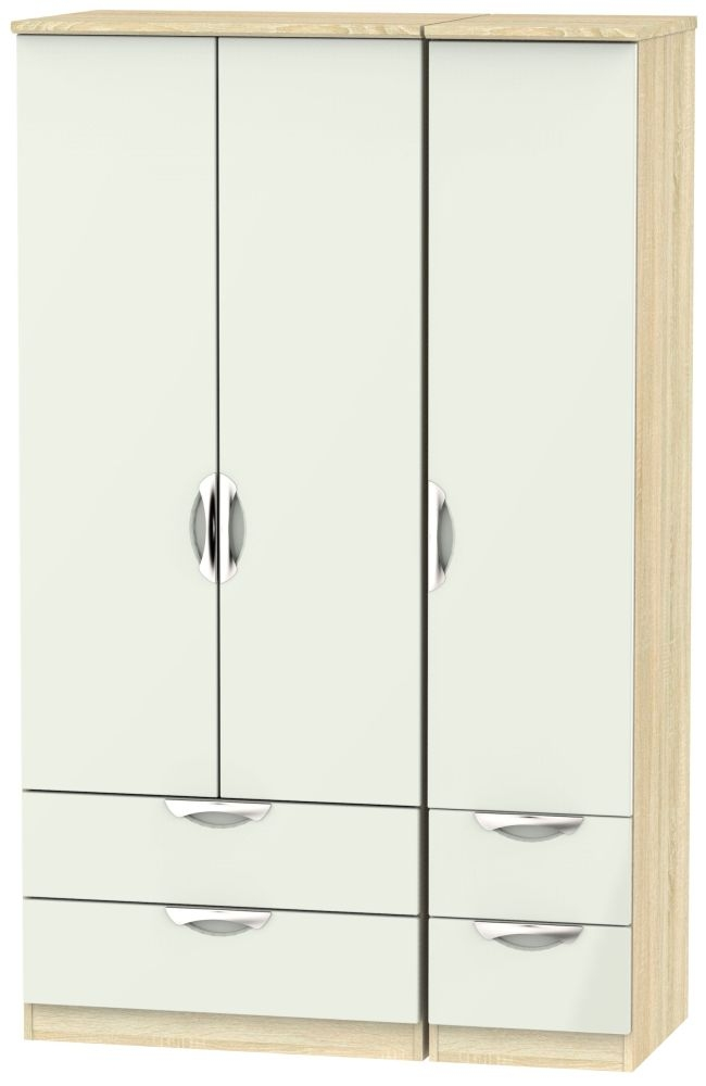 Camden 3 Door 4 Drawer Wardrobe - High Gloss Kaschmir and Bardolino