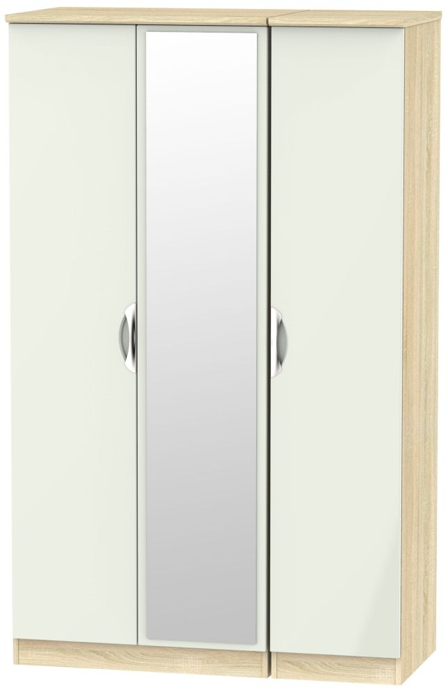 Camden 3 Door Mirror Wardrobe - High Gloss Kaschmir and Bardolino