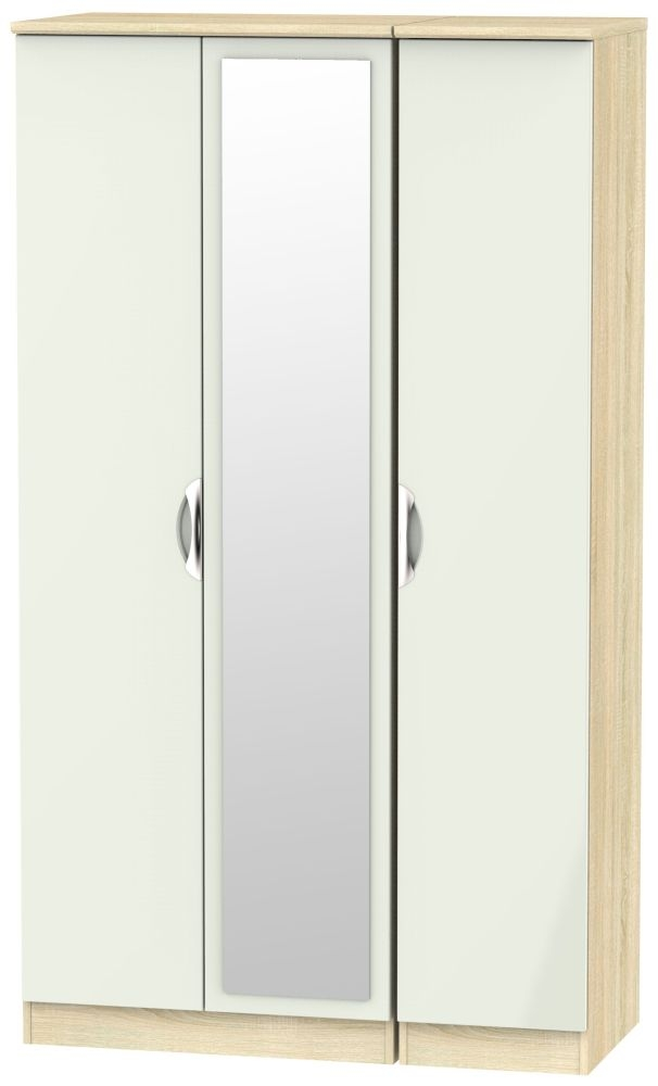 Camden 3 Door Tall Mirror Wardrobe - High Gloss Kaschmir and Bardolino