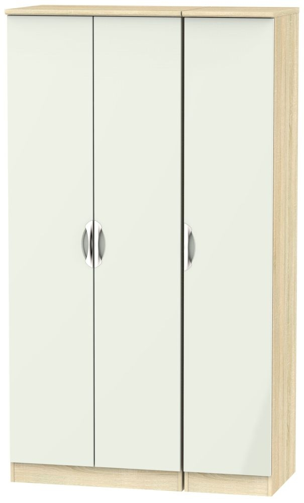 Camden 3 Door Tall Wardrobe - High Gloss Kaschmir and Bardolino