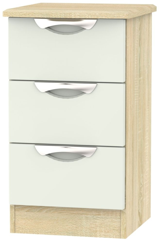 Camden 3 Drawer Bedside Cabinet - High Gloss Kaschmir and Bardolino