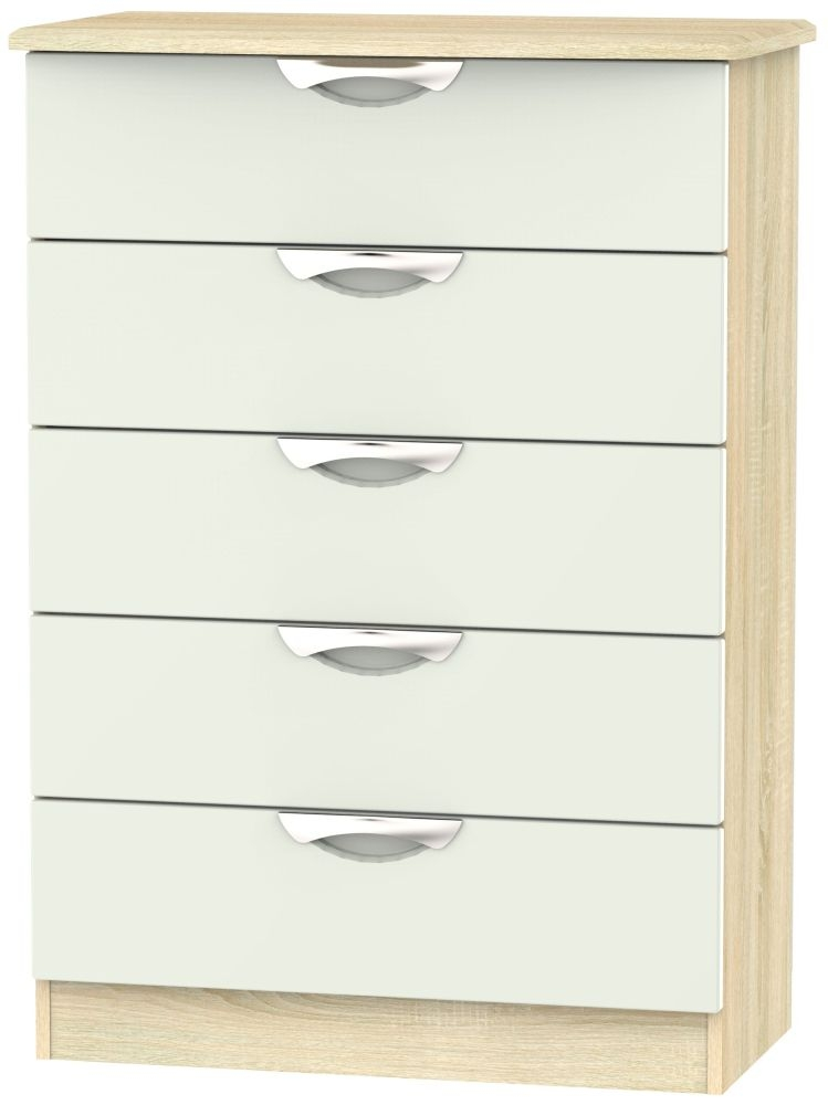 Camden 5 Drawer Chest - High Gloss Kaschmir and Bardolino