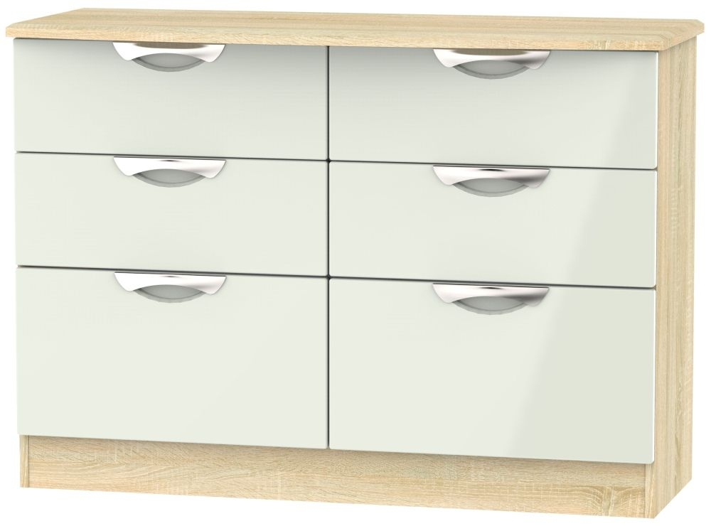 Camden 6 Drawer Midi Chest - High Gloss Kaschmir and Bardolino