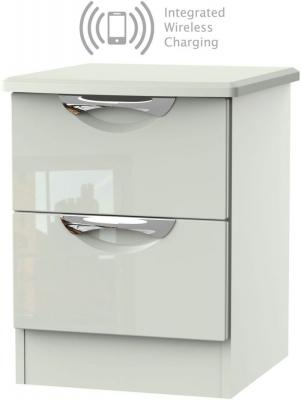 Camden High Gloss Kaschmir 2 Drawer Bedside Cabinet with Integrated Wireless Charging