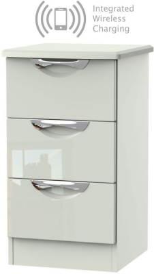 Camden High Gloss Kaschmir 3 Drawer Bedside Cabinet with Integrated Wireless Charging