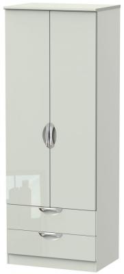 Camden High Gloss Kaschmir 2 Door 2 Drawer Tall Wardrobe