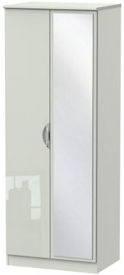 Camden High Gloss Kaschmir 2 Door Tall Mirror Double Wardrobe