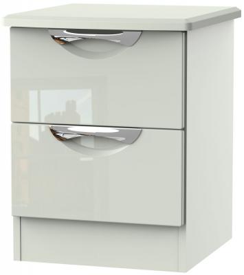 Camden High Gloss Kaschmir 2 Drawer Locker Bedside Cabinet