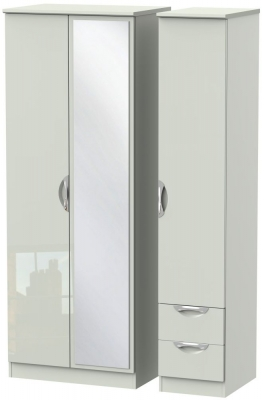 Camden High Gloss Kaschmir 3 Door 2 Drawer Tall Mirror Triple Wardrobe