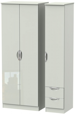Camden High Gloss Kaschmir 3 Door 2 Right Drawer Tall Plain Wardrobe