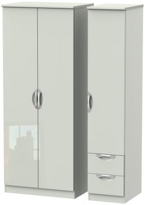 Camden High Gloss Kaschmir 3 Door 2 Right Drawer Plain Wardrobe