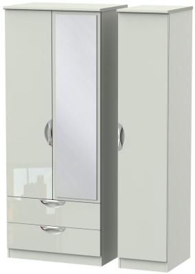 Camden High Gloss Kaschmir 3 Door 2 Left Drawer Mirror Wardrobe