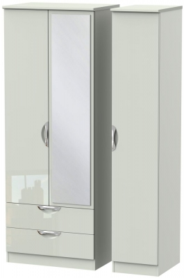Camden High Gloss Kaschmir 3 Door 2 Left Drawer Tall Mirror Triple Wardrobe