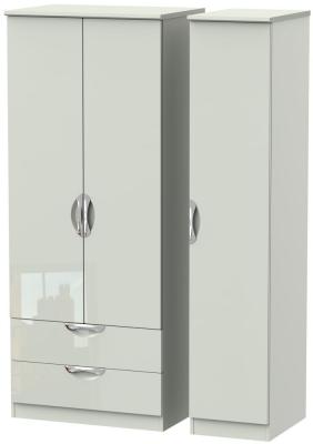 Camden High Gloss Kaschmir 3 Door 2 Left Drawer Triple Wardrobe