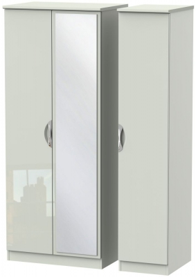 Camden High Gloss Kaschmir 3 Door Mirror Triple Wardrobe