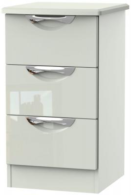 Camden High Gloss Kaschmir 3 Drawer Locker Bedside Cabinet