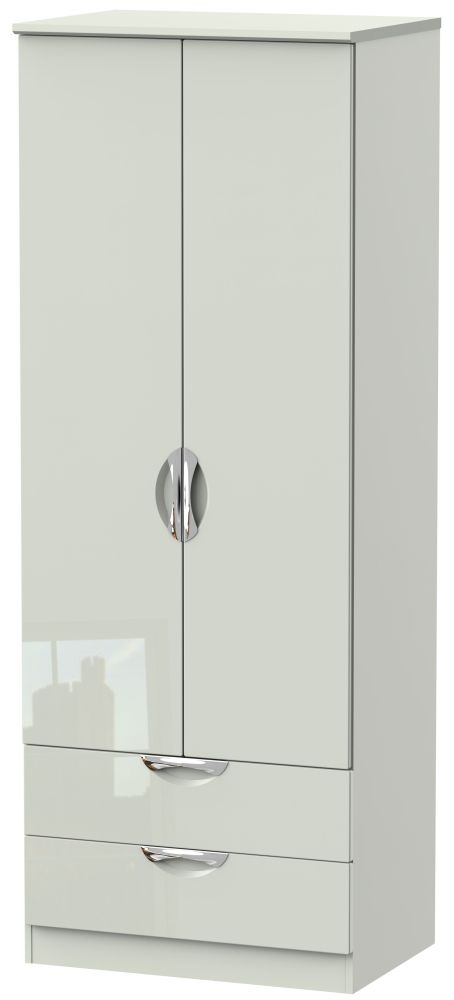 Camden High Gloss Kaschmir 2 Door 2 Drawer Tall Double Wardrobe