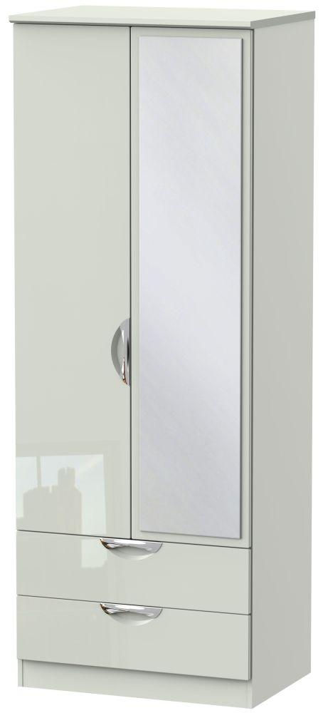Camden High Gloss Kaschmir 2 Door 2 Drawer Tall Mirror Wardrobe