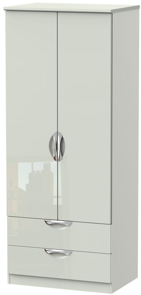 Camden High Gloss Kaschmir 2 Door 2 Drawer Wardrobe