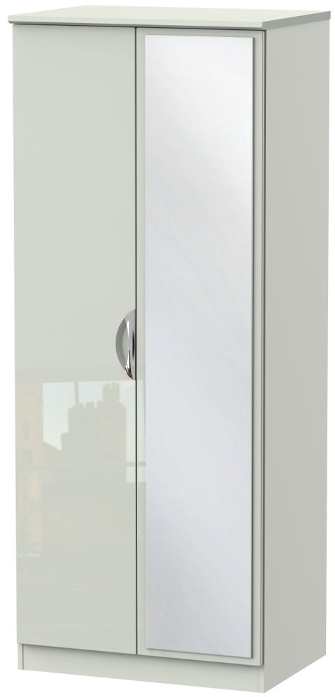 Camden High Gloss Kaschmir 2 Door Mirror Wardrobe