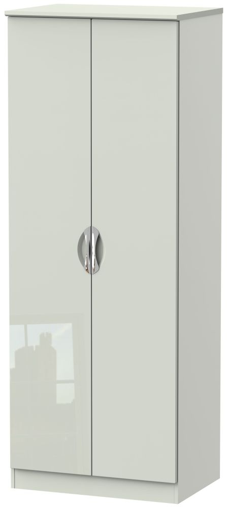 Camden High Gloss Kaschmir 2 Door Tall Plain Wardrobe