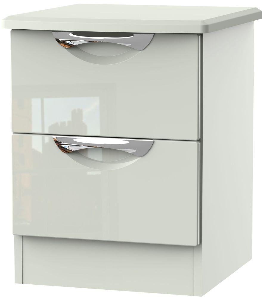 Camden High Gloss Kaschmir 2 Drawer Bedside Cabinet
