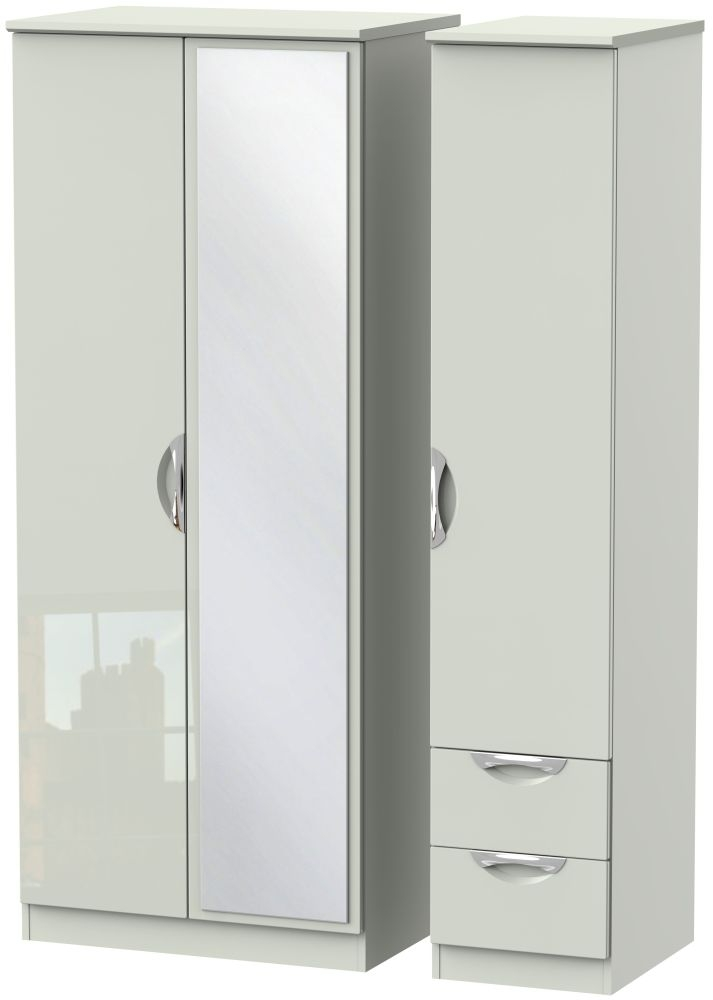 Camden High Gloss Kaschmir 3 Door 2 Drawer Mirror Triple Wardrobe