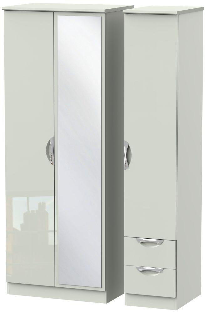 Camden High Gloss Kaschmir 3 Door 2 Drawer Tall Mirror Triple Wardrobe