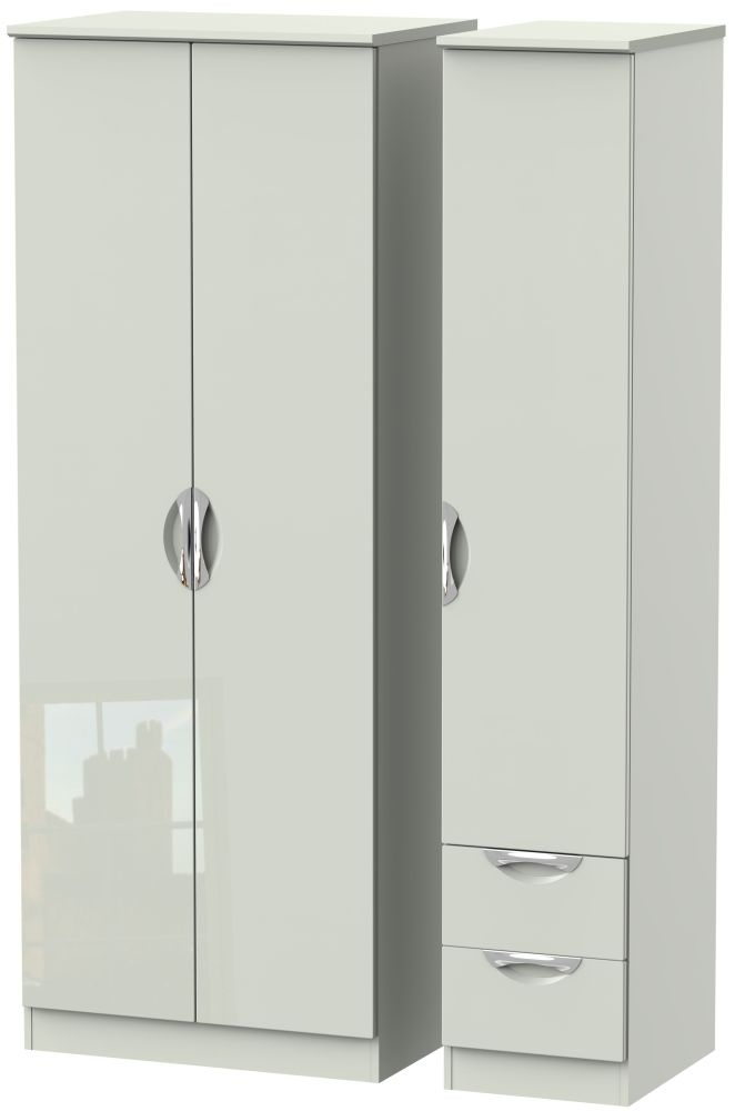 Camden High Gloss Kaschmir 3 Door 2 Right Drawer Tall Plain Wardrobe