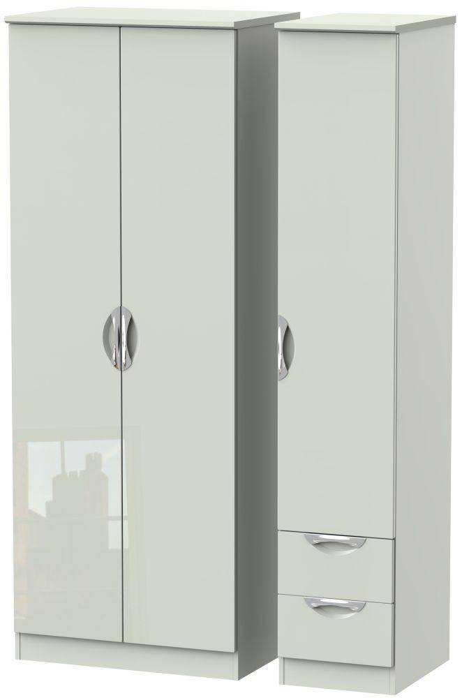 Camden High Gloss Kaschmir 3 Door 2 Drawer Tall Plain Triple Wardrobe
