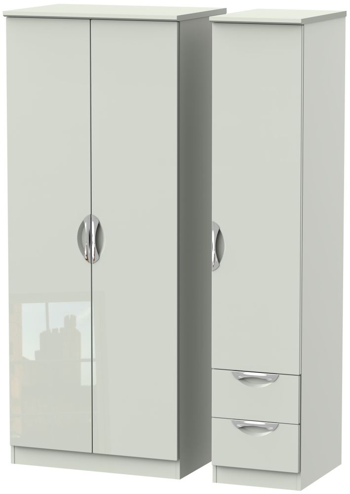 Camden High Gloss Kaschmir 3 Door 2 Right Drawer Plain Wardrobe