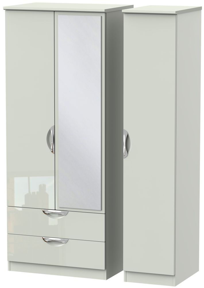 Camden High Gloss Kaschmir 3 Door 2 Left Drawer Mirror Triple Wardrobe