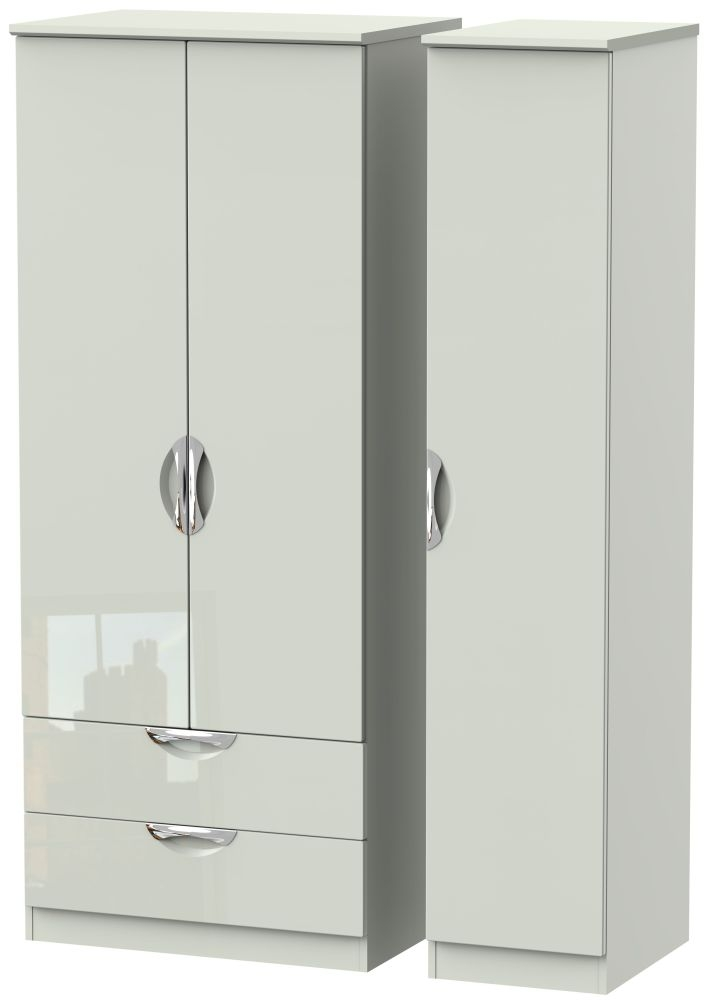 Camden High Gloss Kaschmir 3 Door 2 Left Drawer Triple Wardrobe