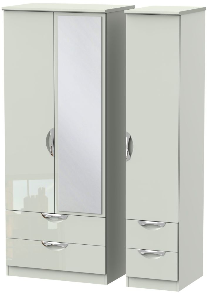 Camden High Gloss Kaschmir 3 Door 4 Drawer Mirror Triple Wardrobe
