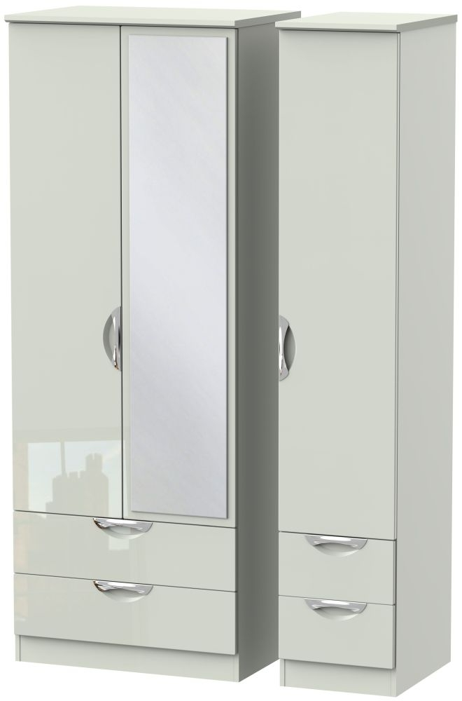 Camden High Gloss Kaschmir 3 Door 4 Drawer Tall Mirror Triple Wardrobe
