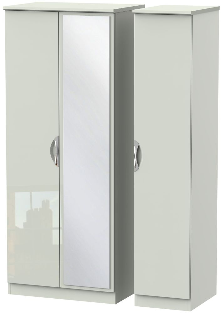 Camden High Gloss Kaschmir 3 Door Mirror Wardrobe