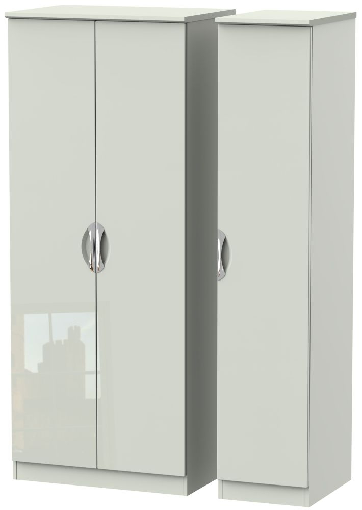 Camden High Gloss Kaschmir 3 Door Plain Triple Wardrobe