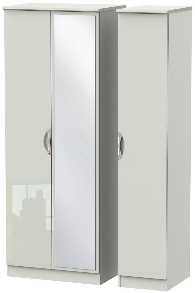 Camden High Gloss Kaschmir 3 Door Tall Mirror Triple Wardrobe