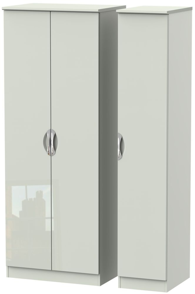 Camden High Gloss Kaschmir 3 Door Tall Plain Triple Wardrobe